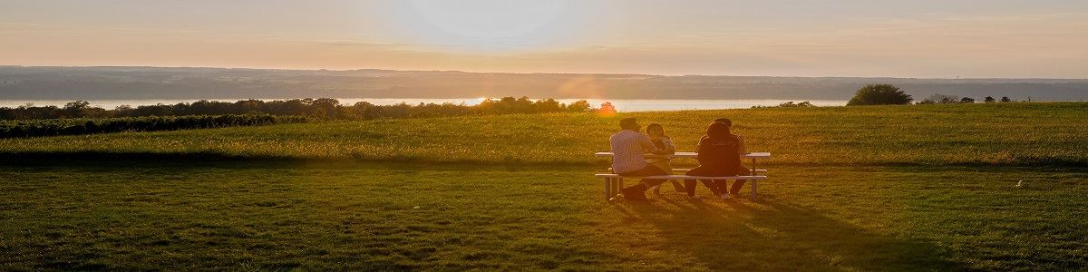 People on Bench at Sunset Overlooking Cayuga Lake INT by Tourism Office