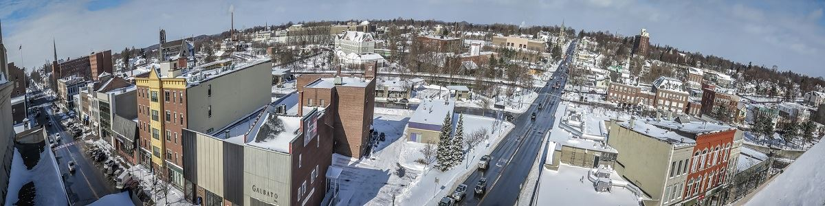 Aerial Downtown Auburn in the Winter INT by Christopher Molloy